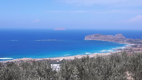 Фалассарна, Греция: Falassarna beach vanaf de weg Kissamos.