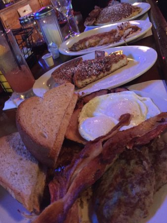 Cass Avenue (foreground), Cereal French Toast, Classic French Toast (with hash browns)