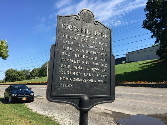 Cobbs Hill Park: Cobb's Hill Park - historic sign