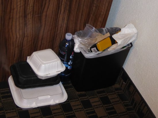 The D Casino Hotel Las Vegas: Garbage still in the room from the previous guests