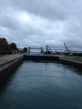 Sault Ste. Marie, MI: Lock is almost filled, gates are ready to open to allow passage through