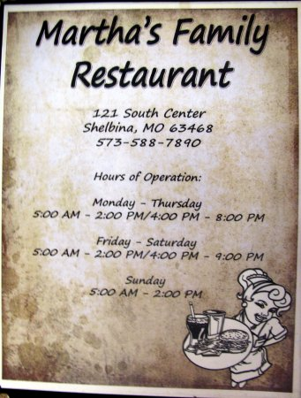 Martha's Shelbina, MO. menu........a