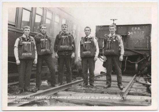 Canmore Museum & Geoscience Centre : Mine Rescue Team, circa 1920s.