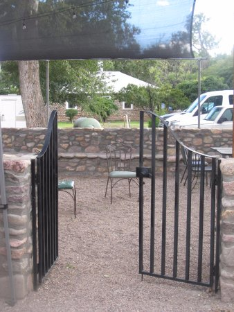 Portal, AZ: Enclosed patio is great for checking your email on the free wifi.