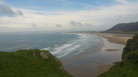 Rhossili Bay: The waves looked gentle but were quite harsh when down there