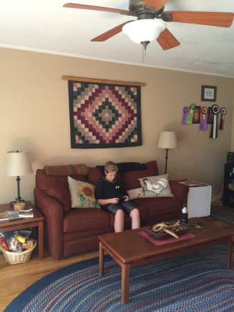 Onalaska, WI: Living room between two lower rooms with games, books and patio out back