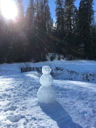 Fish Camp, Kalifornien: A happy snowman outside of Wawona Lodge