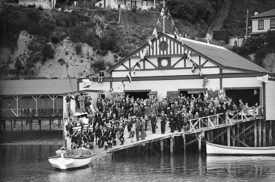 The Boathouse Society : Launch of Arrow, by the Nelson Sea Scouts c. 1939.  The Nelson Provincial Museum, Kingsford Coll