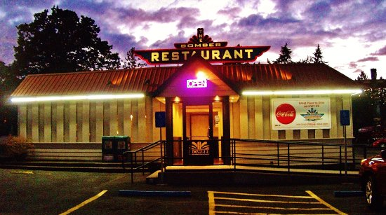 Milwaukie, OR: front of the Bomber Restaurant at dusk