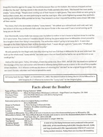 Milwaukie, OR: Second page of History of the Bomber and Bomber facts
