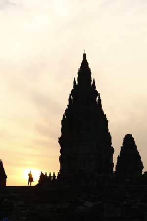 Sleman, Indonesia: sunset over Prambanan temple. what a