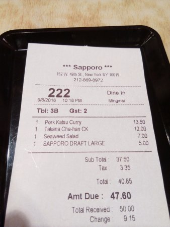 Sapporo Restaurant: Nos sobró la ensalada por cantidad (era cena) y prescindiendo de cerveza se ahorra.
