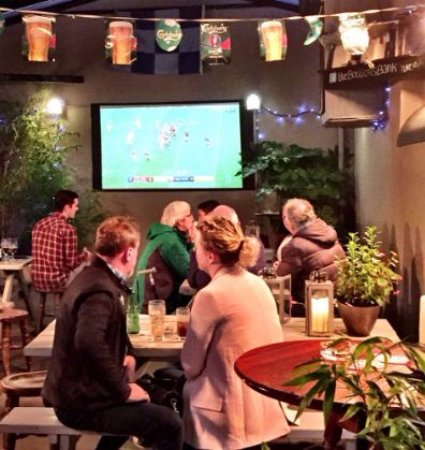 Great place to watch the sports. Large Big Screen HD. #SportsAtBottlers #beergardenrathgar
