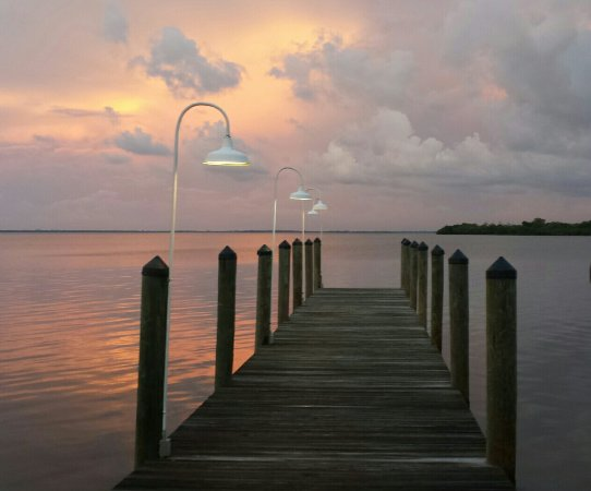 Sunset on the dock at Green Flash in Captiva. Food was awesome!