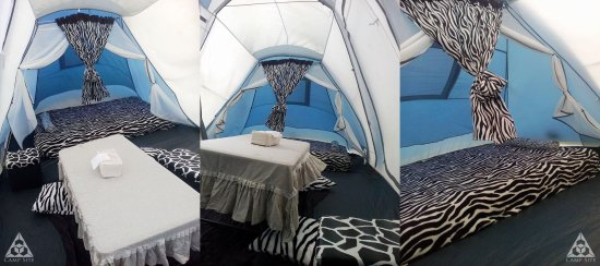 Cavinti, Filipinas: Inside our cool Big Tent with GLAMPING setup!