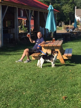 Keeseville, นิวยอร์ก: Me and the best dog in the world at one of the outdoor tables