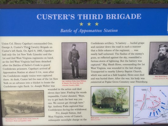 Appomattox, VA: Third of 3 historic markers - at southern end of the park, where Custer's troops charged Walker'