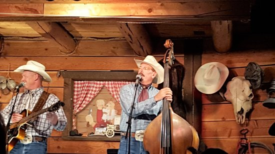 Jackson Hole, WY: Two of 5 of the singers. The cowboy on the left had a deep base voice which I loved.