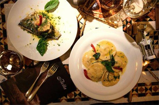 Bella: Ravioli Ricotta and Baked Sea Bass