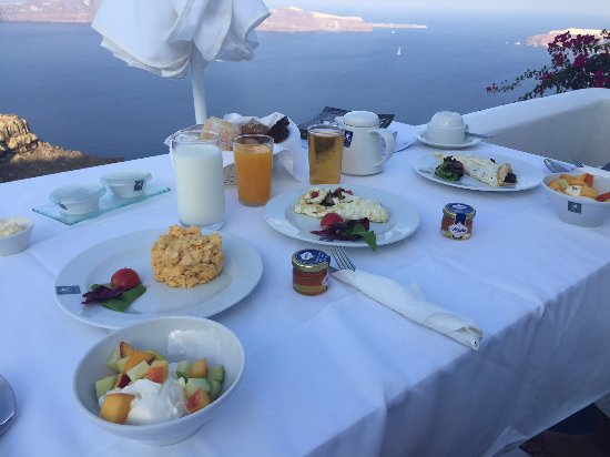 Astra Suites: Breakfast on your balcony each morning