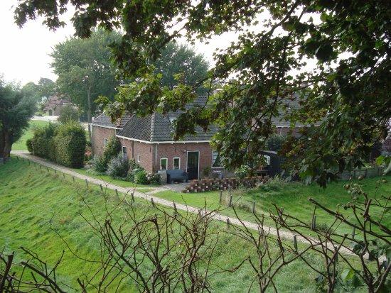 Hegebeintum, Nederland: Gezicht op de lager gelegen woningen rondom de terp