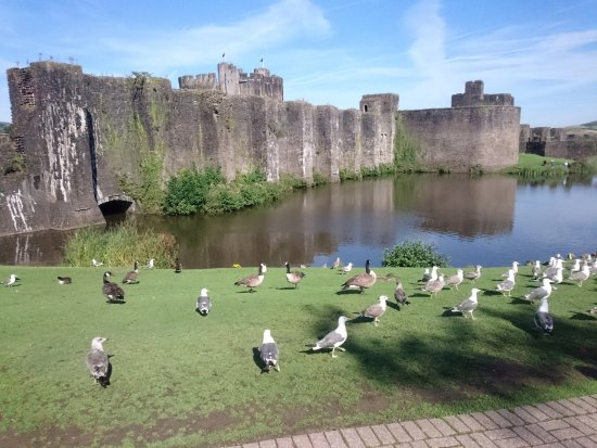 Caerphilly, UK: Exterior and moat