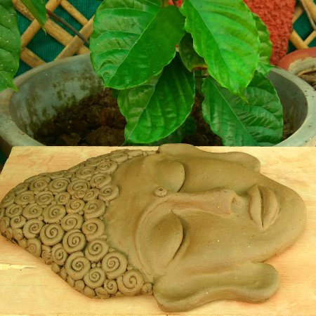 Clay Buddha Mask Wall Art - Picture of Claying Thoughts, Noida ...
