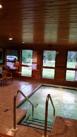 Boulder Junction, WI: Our inviting Whirlpool with views of the Deer out the back of our property.