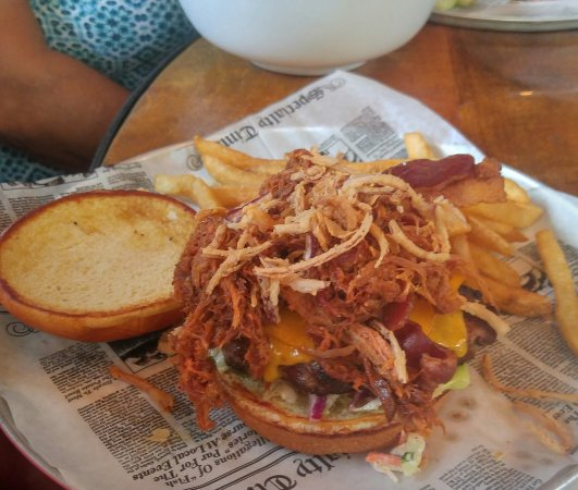 Lockport, NY: The Central Park: Cheddar, pulled pork, applewood, smoked bacon, a burger with onion rings and s