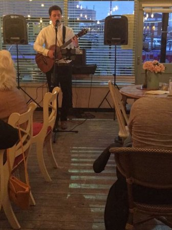 Hartlepool, UK: Ben Conroy singing live at Wallis and Co