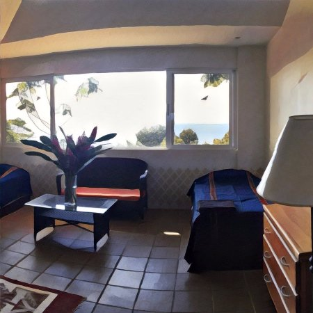 Upstairs room at the Pavones Yoga Center Yoga House. Ocean views