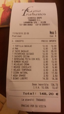 Casa Trabanco : Cuenta de cena para seis