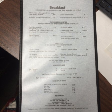 Garibaldi, Oregón: Breakfast Menu