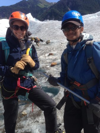 Above & Beyond Alaska: Ved successfully guessed the USGS marks of glacial retreats. Annie was impressed by that!!