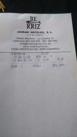 Hotel Marina: menú 15 euros