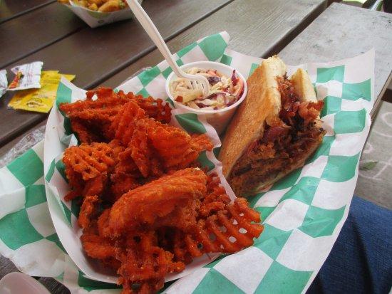 Greenfield, IN: Cuban Sandwich, sweet potato fries, and cole slaw