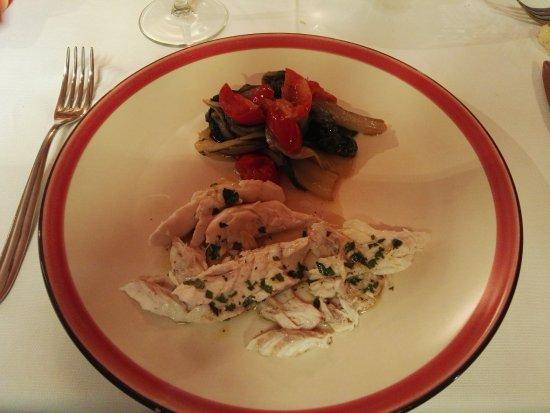 Riposto, İtalya: Plated fish with sauteed veggies