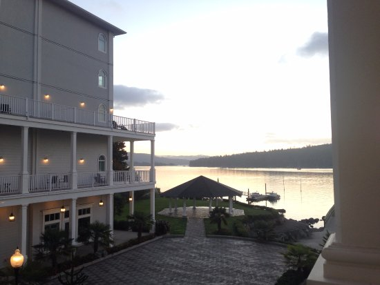 Looking deeper into Sooke Harbour -- with hotel courtyard and gazebo below