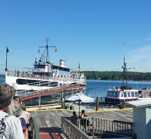 The M/S Washington docking at Weirs Beach to take on more passengers for the ride to Wolfesboro.