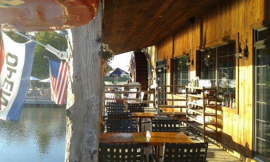 Killington, VT: Deck tables on the pond