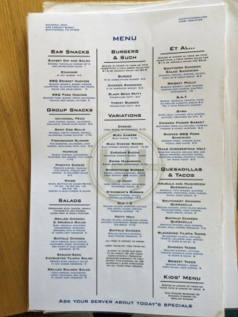Universal Joint Menu >> Menu Picture Of Universal Joint Chattanooga Tripadvisor