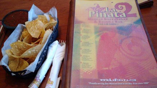 San Leandro, CA: Menu, chips & HOT salsa