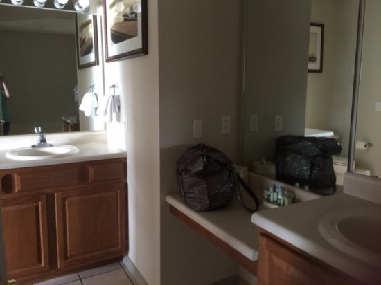 Falls Village Resort: Dressing table, shower, jetted tub