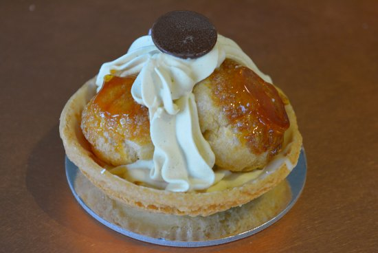 Inverloch, Australia: St.Honore (pronounced Honor-ray). Burnt caramel choux pastry filled with coffee and caramel crea