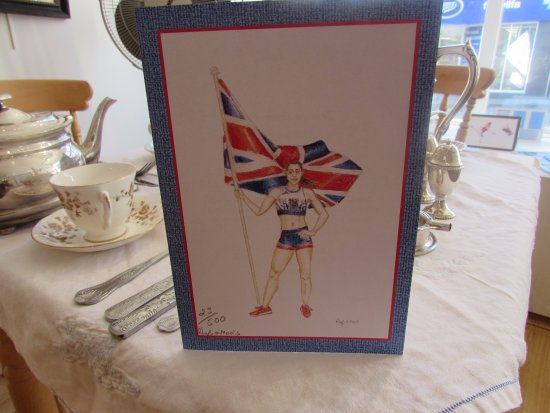 Llangefni, UK: Jessica Ennis-Hill Silver Rio 2016 Original Limited Edition Greeting Card by Rhys G Morris,BA (H