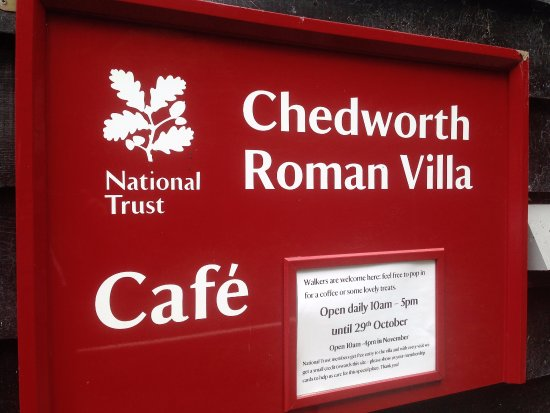 Gloucestershire, UK: Sign at entrance to The Cafe at Chedworth Roman Villa