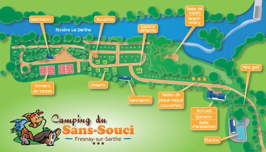 Fresnay-Sur-Sarthe, فرنسا: Plan de notre camping