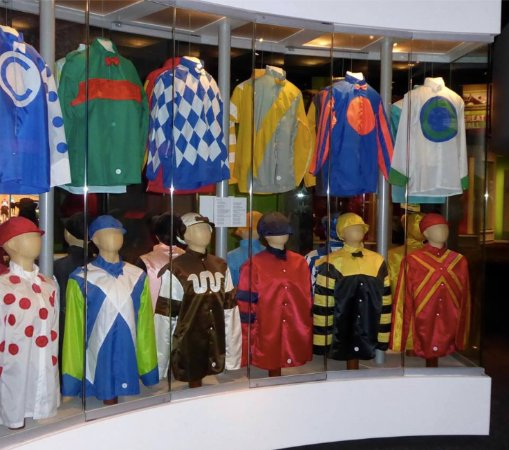Churchill Downs: Display of jockey silks - over 25,000 registered colorful patterns