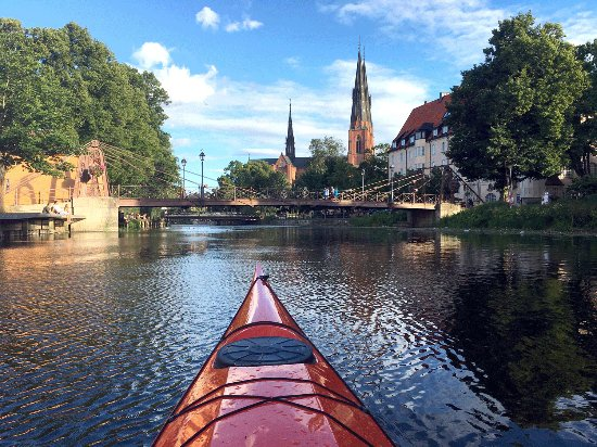 Arriving by kayak to Uppsala on the river Fyrisån