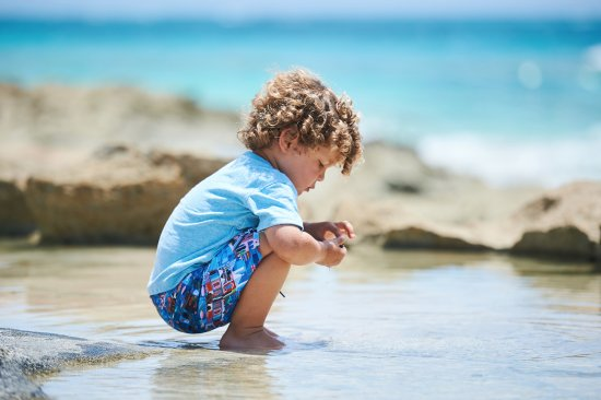 Pembroke, Bermuda: Swim shorts for kids in unique Bermuda patterns.